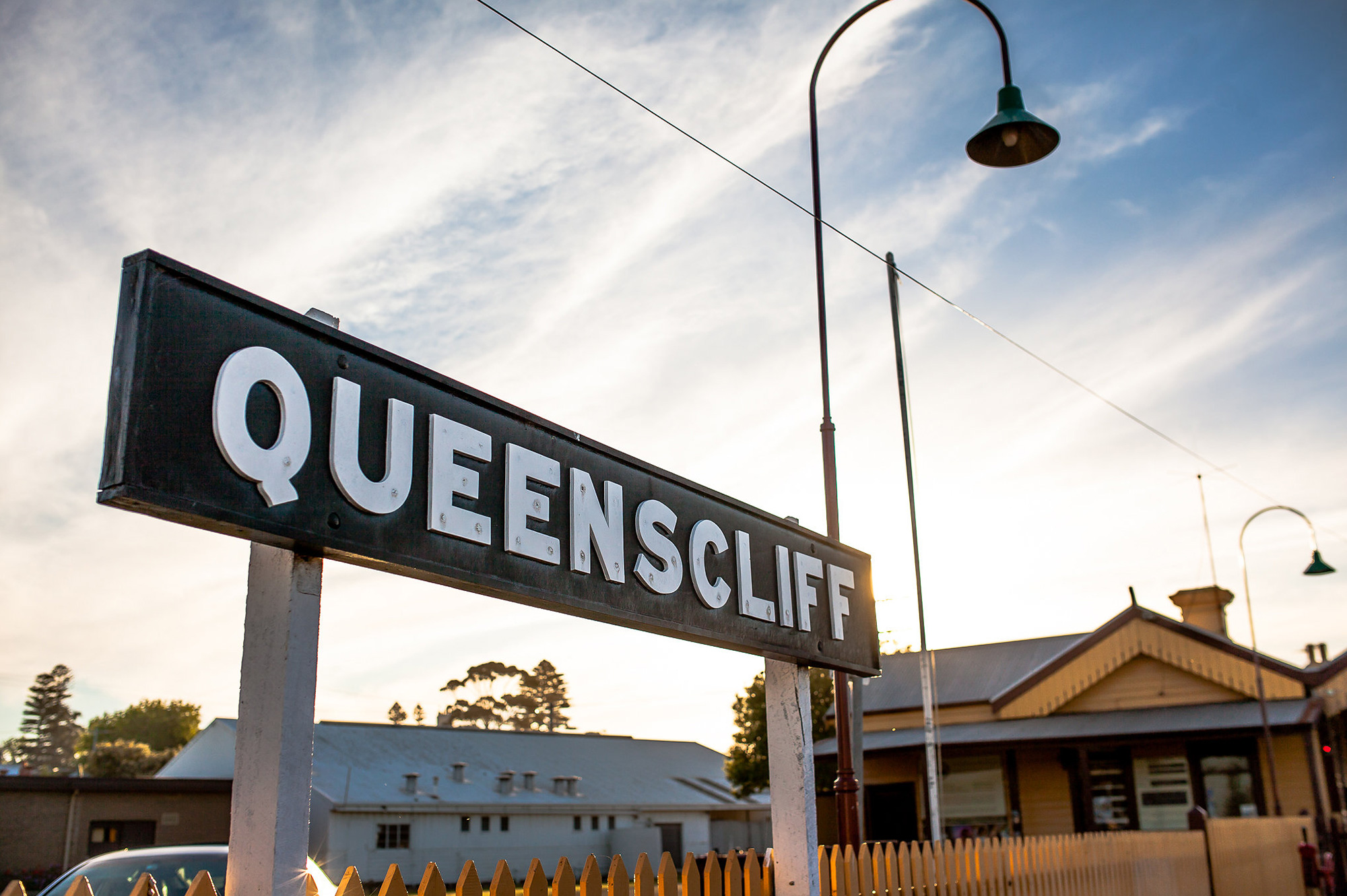 queenscliff railway station sign, queenscliff point lonsdale holiday accommodation australia, beach house